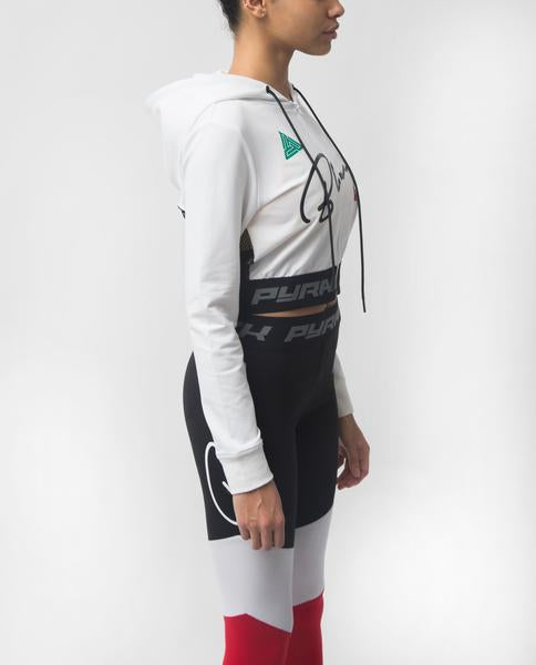 WOMENS GRAND PRIX CROPPED HOODIE-COLOR:WHITE