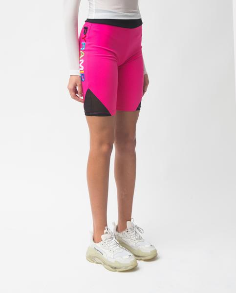 WOMENS BP SPLIT MESH BOCKED BIKER SHORTS-COLOR: PINK