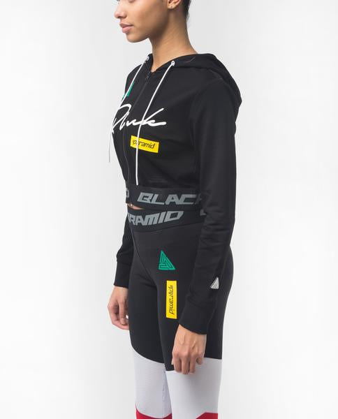 WOMENS GRAND PRIX CROPPED HOODIE-COLOR:BLACK