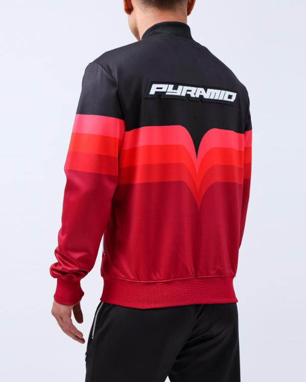 GRADIENT STRIPE BOMBER-COLOR: RED