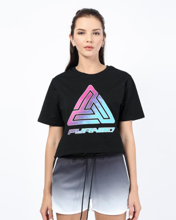 WOMENS OMBRE LOGO CROP TEE-COLOR: BLACK