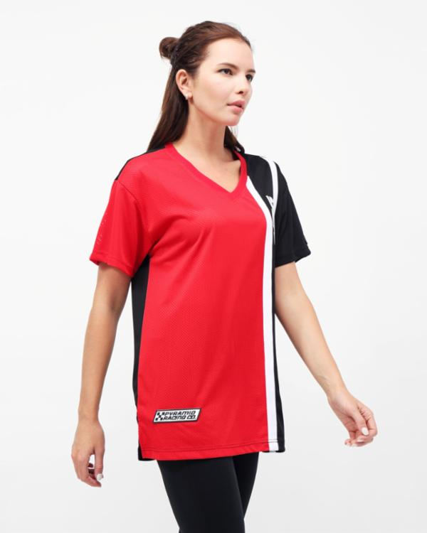 WOMENS RACING BLOCK TEE DRESS-COLOR: RED