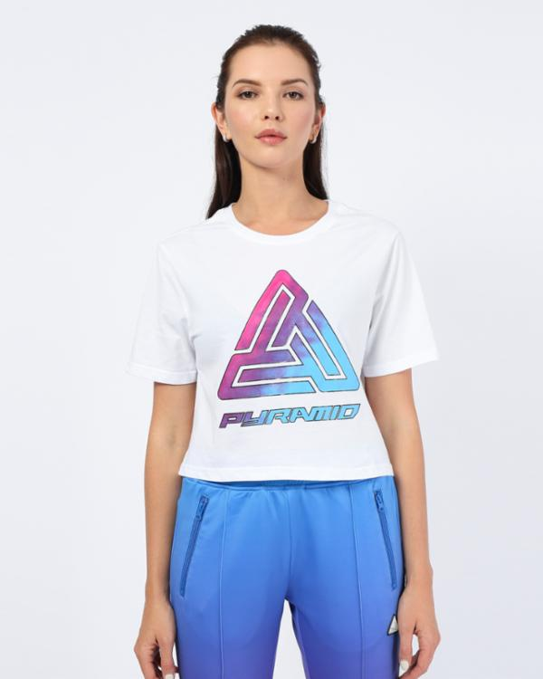 WOMENS OMBRE LOGO CROP TEE-COLOR: WHITE