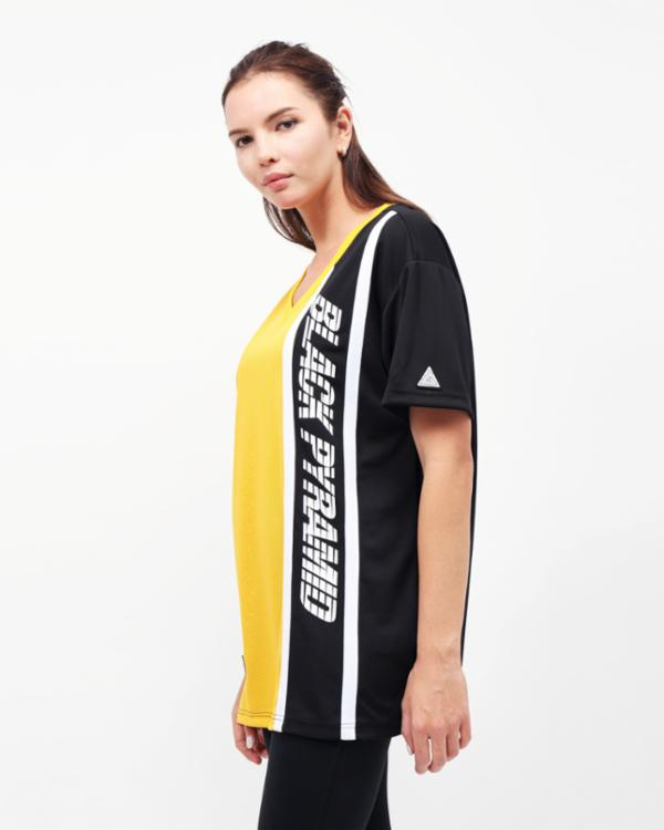 WOMENS RACING BLOCK TEE DRESS-COLOR: YELLOW