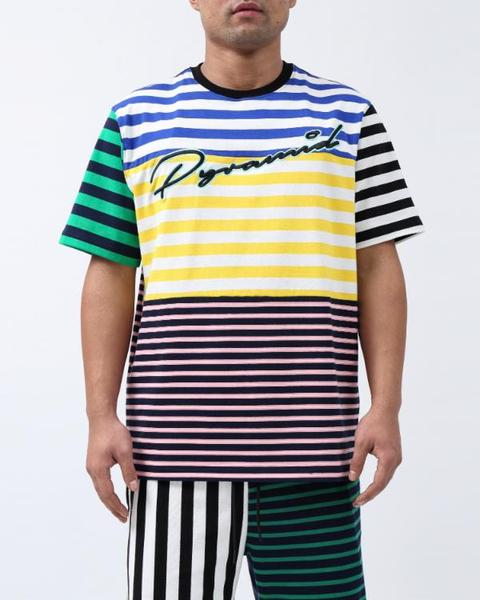 BIG AND TALL SCRIPT STRIPES SHIRT-COLOR: GREEN