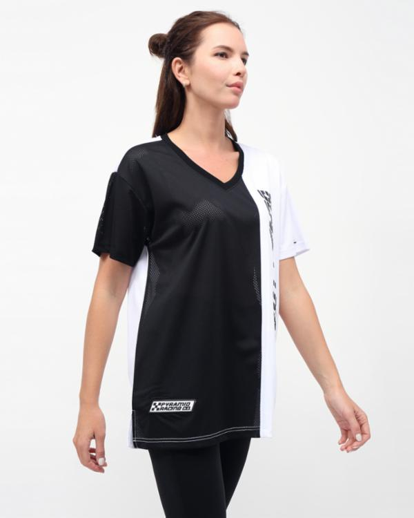 WOMENS RACING BLOCK TEE DRESS-COLOR: BLACK