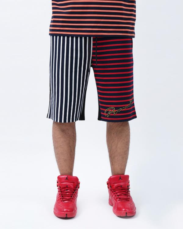 SCRIPT STRIPE SHORTS-COLOR: ORANGE