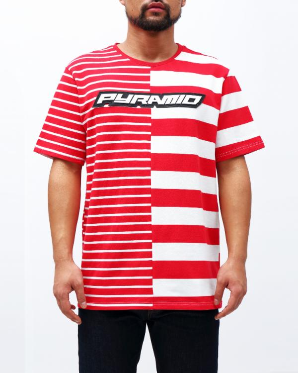 ODD EVEN STRIPE SHIRT-COLOR: RED