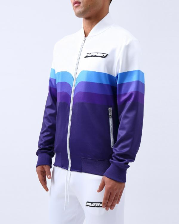 GRADIENT STRIPE BOMBER-COLOR: NAVY