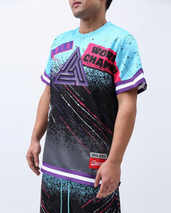 WORLD CHAMPS SPLATER SHIRT-COLOR: TURQOUISE
