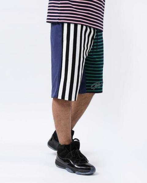 BIG AND TALL SCRIPT STRIPES SHORT-COLOR: GREEN