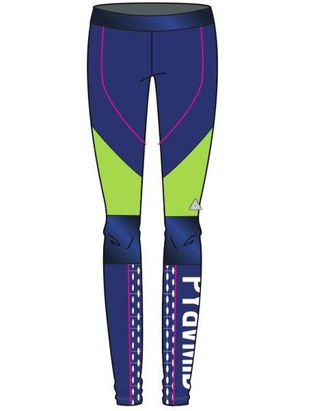 Womens ColorBlocked Liner Logo Leggings-COLOR: BLUE