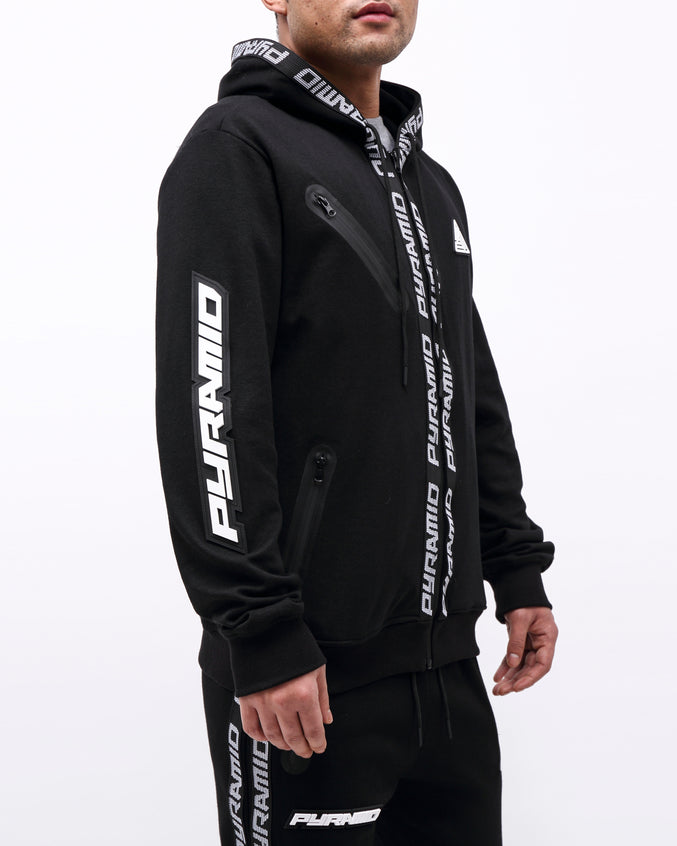 PYRAMID TECH ZIP UP HOODY - Color: BLACK
