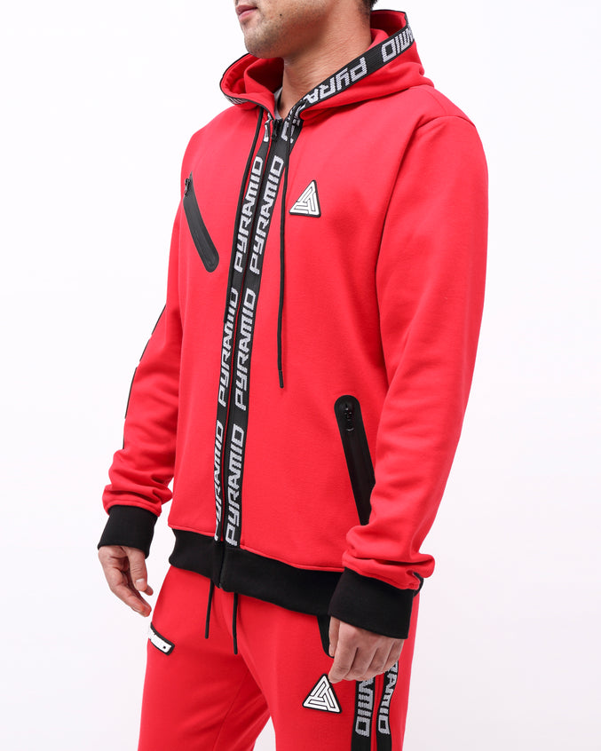 PYRAMID TECH ZIP UP HOODY - Color: RED