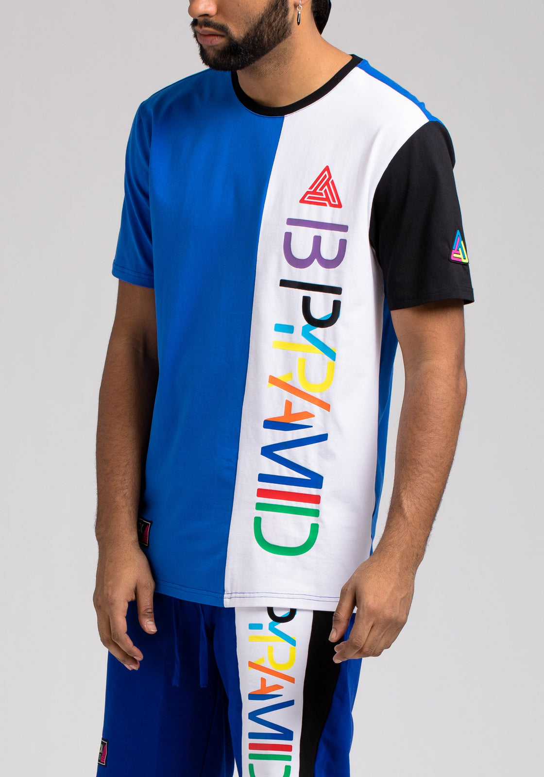 BPYRAMID COLOR BLOCK TEE - Color: Blue