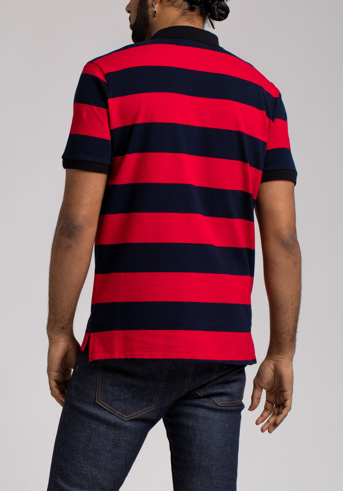 SPACE PATCH STRIPE POLO - Color: Black