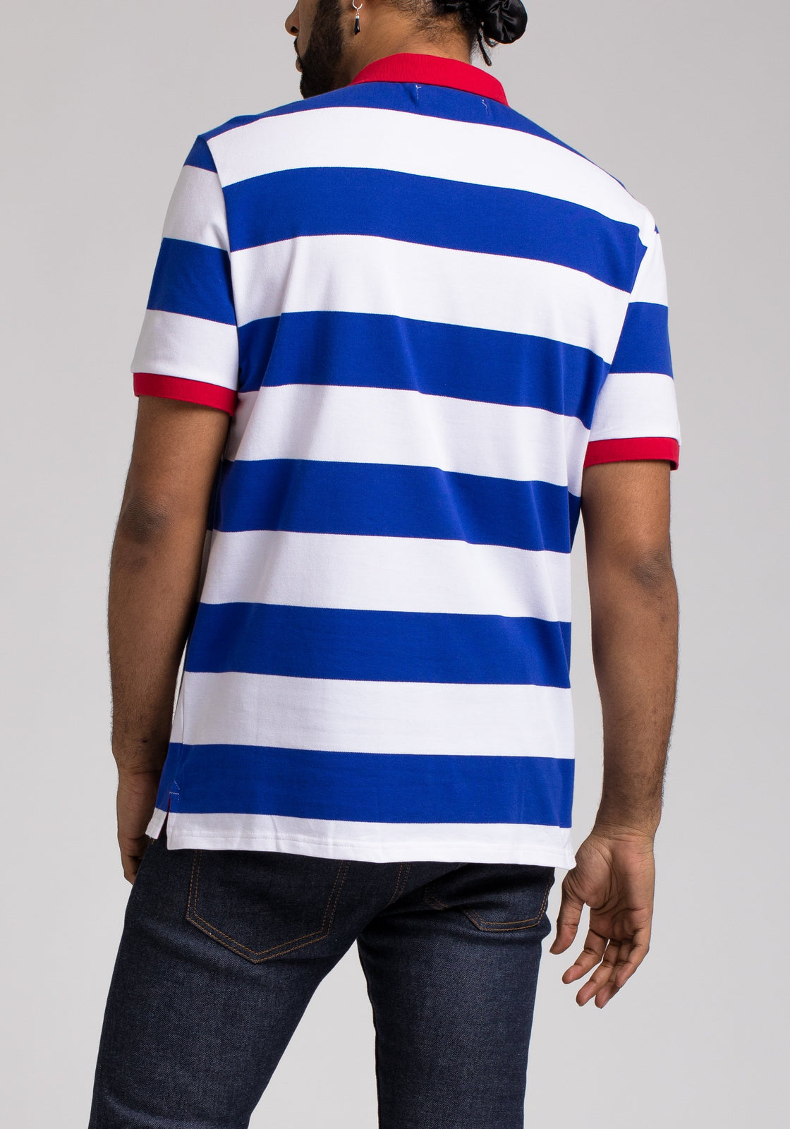 SPACE PATCH STRIPE POLO - Color: Blue