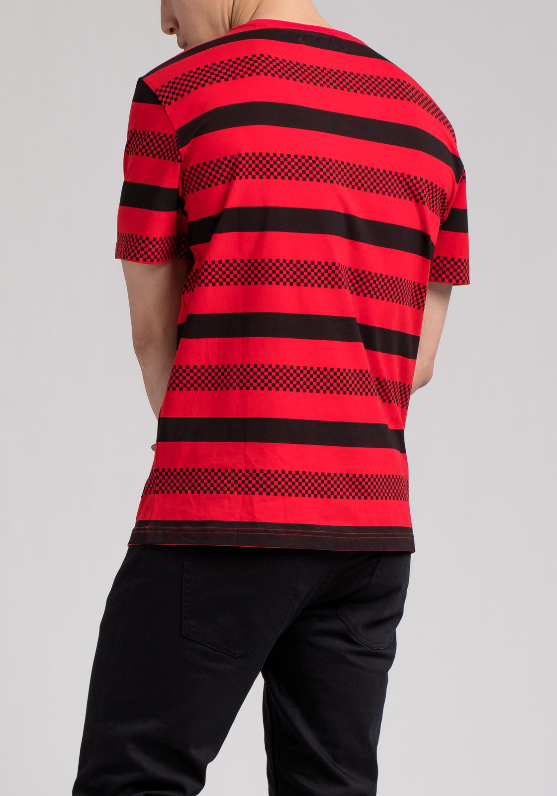 BP MICRO CHECKER STRIPE TEE - Color: RED