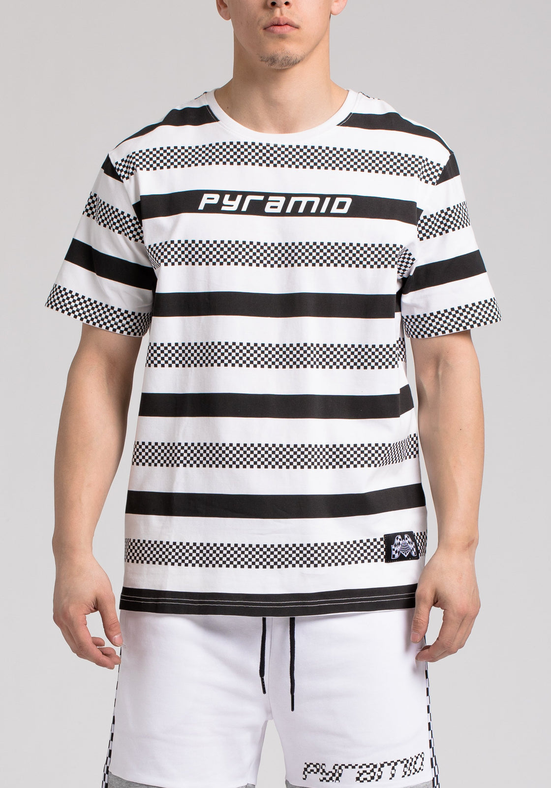 BP MICRO CHECKER STRIPE TEE - Color: White