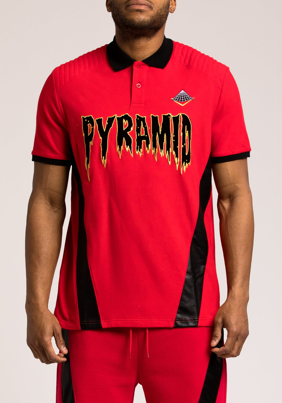 PU Pyramid Polo - Color: RED