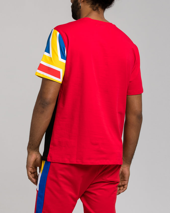 Pyramid Block Tee - Color: RED