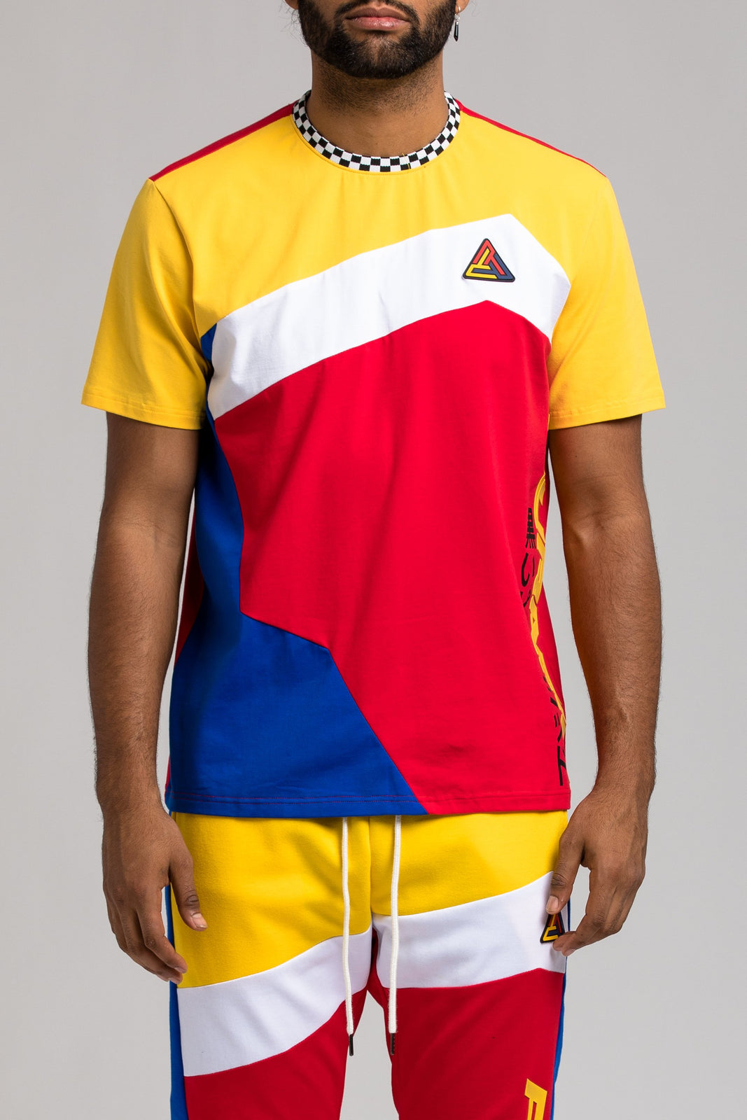 Pyramid Colorblock Tee - Color: RED