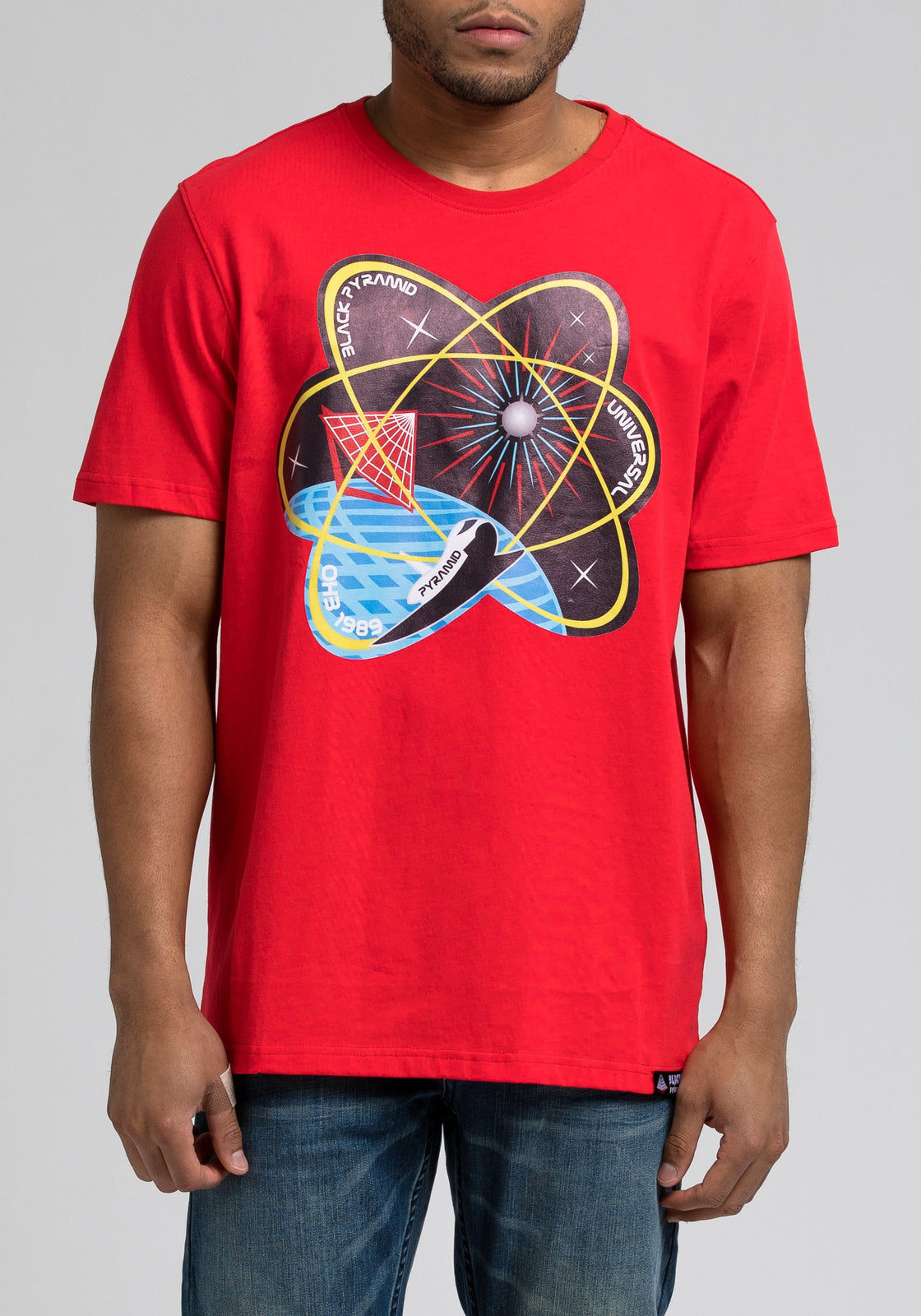 Pyramid Atom Tee - Color: RED