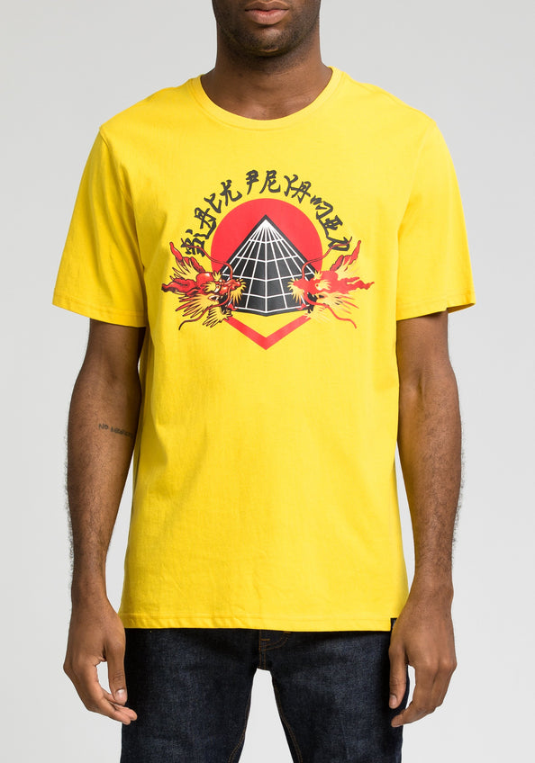 Two Dragon Head Tee - Color: YELLOW
