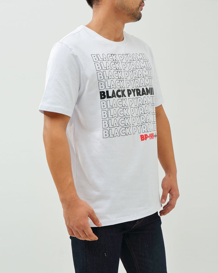 BP REPEAT TEXT TEE-COLOR: WHITE