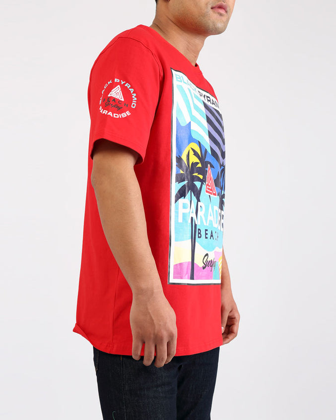 PARADISE SURF BEACH SHIRT-COLOR: RED