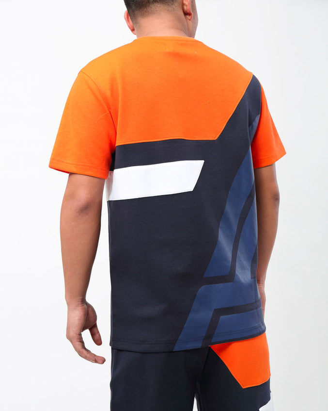 DIAGONAL PIECED SHIRT-COLOR: ORANGE
