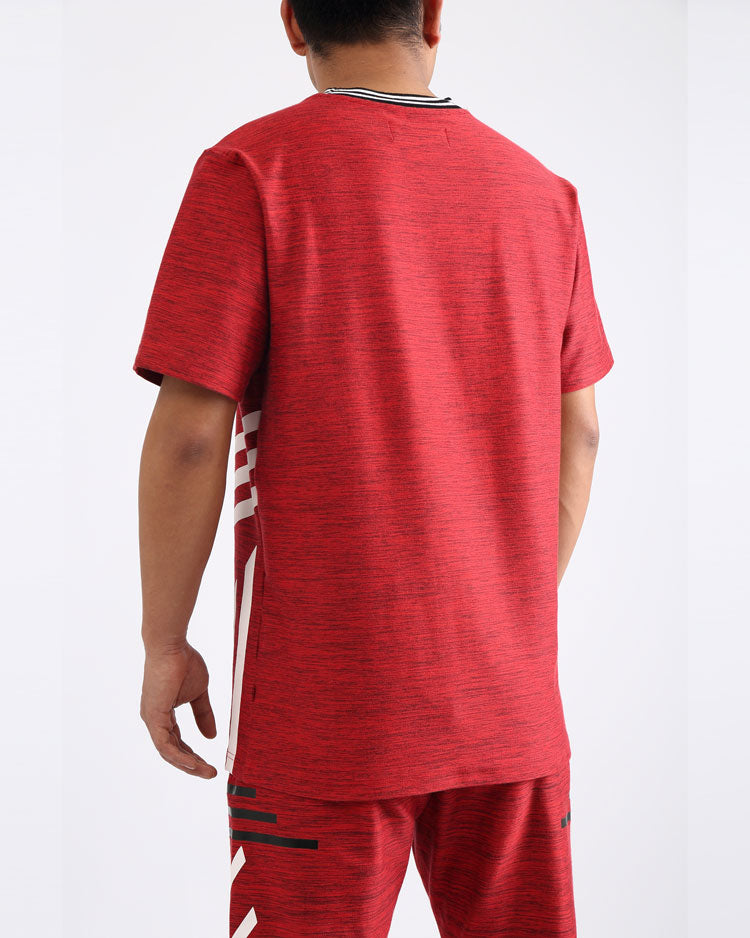 BIG AND TALL BLACK CYBER SHIRT-COLOR: RED