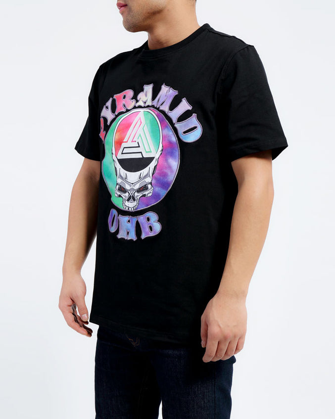 BIG AND TALL CONTRAST TIE DYE SHIRT-COLOR: BLACK