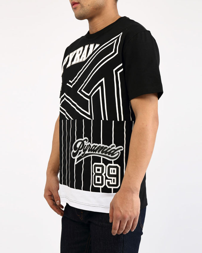 BBALL MASH UP SHIRT-COLOR: BLACK