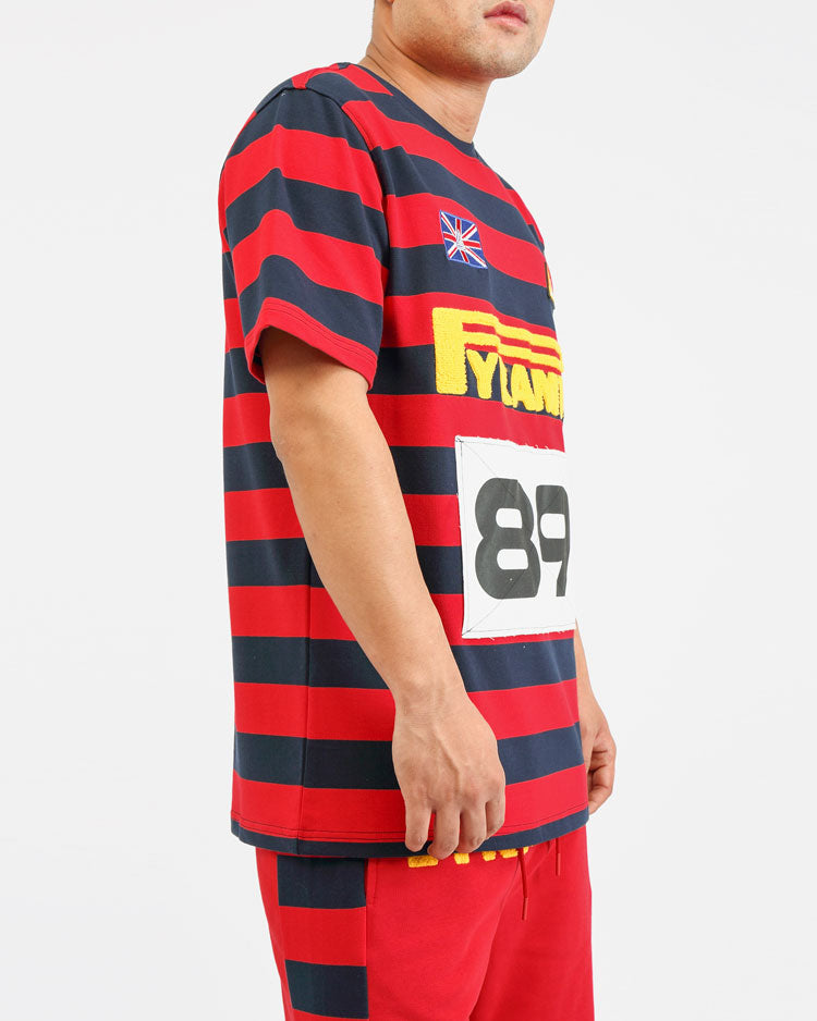 BIG AND TALL GAME STRIPE SHIRT-COLOR: RED