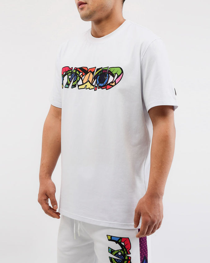 BIG AND TALL BRITTO EYES LOGO SHIRT-COLOR: WHITE