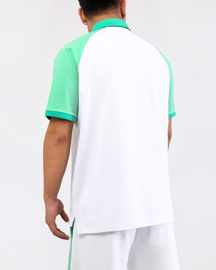 CLEAN BLOCK POLO SHIRT-COLOR: WHITE