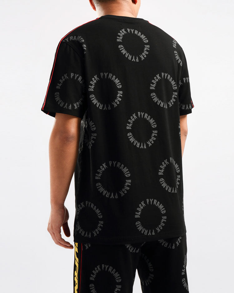 BIG AND TALL CIRCLE DRIP MONOGRAM SHIRT-COLOR: BLACK