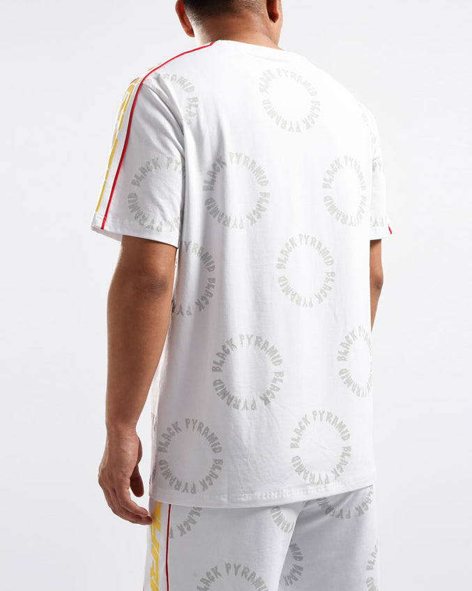 BIG AND TALL CIRCLE DRIP MONOGRAM SHIRT-COLOR: WHITE