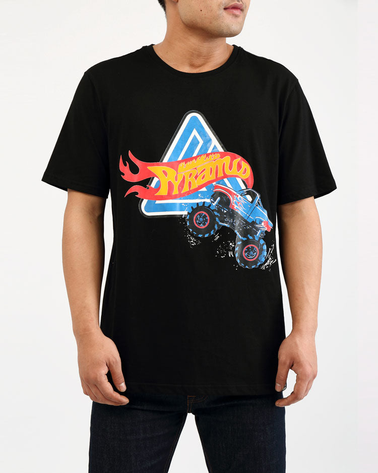 BIG AND TALL MONSTER WHEELS SHIRT-COLOR: BLACK