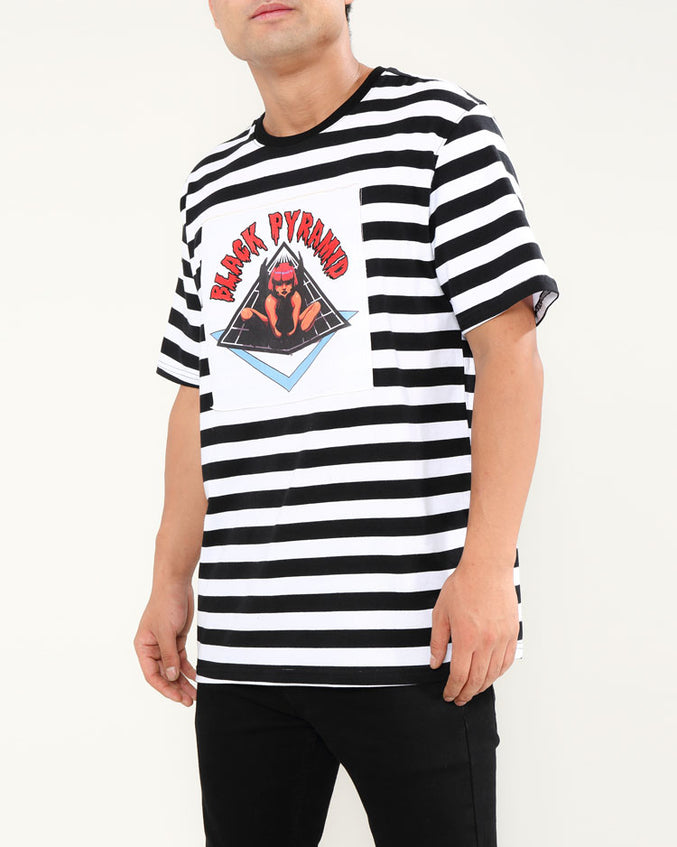 STRIPED DEMON GIRL SHIRT-COLOR: WHITE