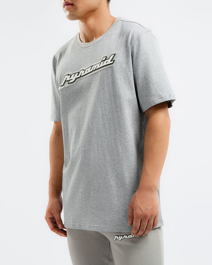 BIG AND TALL CORE 3D RUBBER PATCH SHIRT-COLOR: HEATHER GRAY