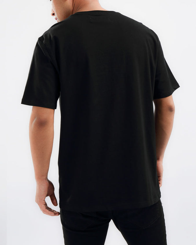 BIG AND TALL COLLAGE TYPE SHIRT-COLOR: BLACK