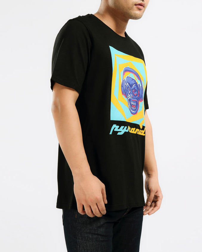 CRAZY MUSIC MONKEY TEE-COLOR: BLACK
