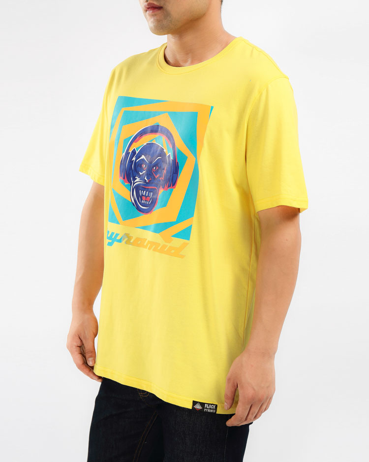 CRAZY MUSIC MONKEY TEE-COLOR: YELLOW