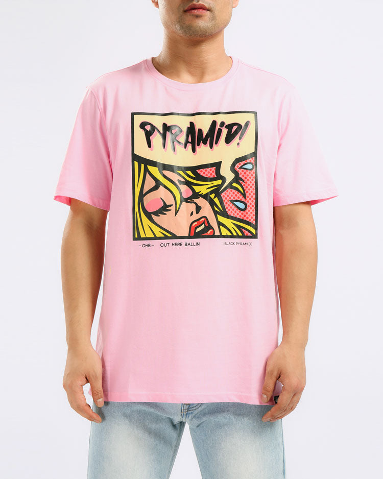 RESTING PYRAMID FACE TEE-COLOR: PINK