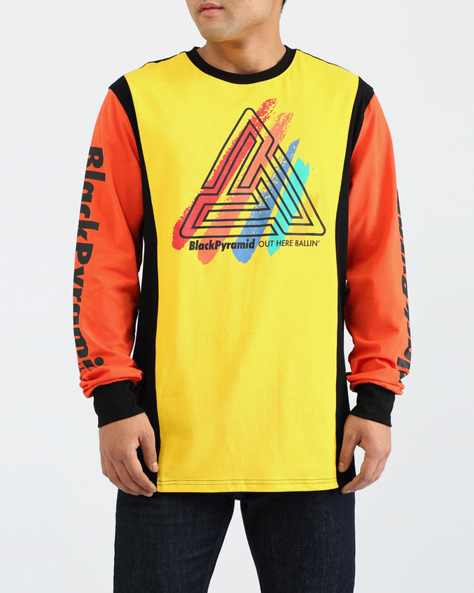 PAINT STREAKS OHB LS SHIRT-COLOR: YELLOW