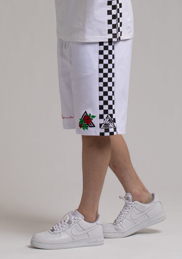 Rose And Pyramid Logo Short - Color: White
