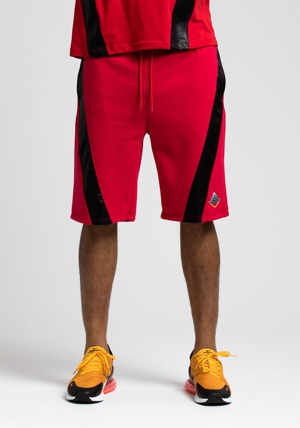 PU Pyramid Shorts - Color: RED