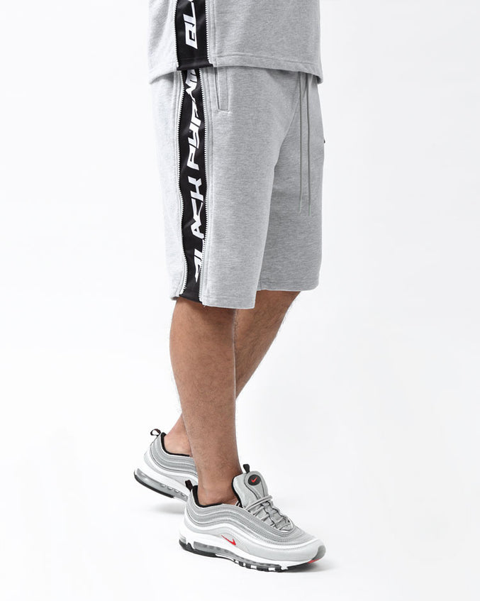 ZIP PANEL SHORTS-COLOR: HEATHER GRAY